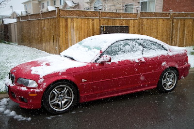 Snow on the Bimmer