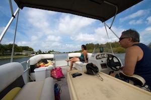 Janice and Richard on their pontoon boat