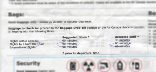Suggested arrival time