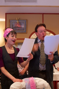 Rosa and Bozo sing at Christmas lunch