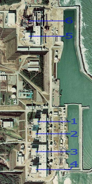 Satellite view of Fukushima I