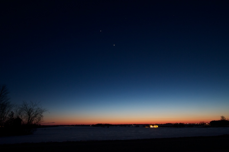 The planets Earth, Jupiter, Venus and Mercury