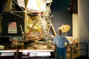 Standing next to the Apollo Lunar Module