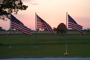 American Flags at dusk