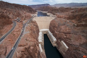 The Hoover Dam from the Mike O'Callaghan–Pat Tillman Memorial Bridge.