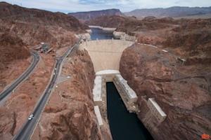 The Hoover Dam from the Mike O'Callaghan–Pat Tillman Memorial Bridge.